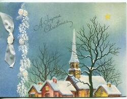 Vintage Christmas Church Village Houses Snow Embossed White Pine Cones Art Card