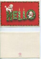 Vintage Christmas White French Poodle Dog Candles Holly Wreath Art Greeting Card