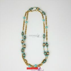 Vintage Gripoix Glass Faux Pearl Crystal Filigree Necklace 24k Gold Plate