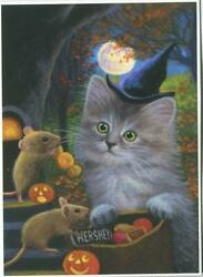Aceo Cat Kitten Fluffy Gray Halloween Trick Or Treat Candy Pumpkin Mouse Print
