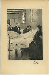Antique Cross Medicine Bottles Sick Woman In Bed Visitors Remarque Etching Print