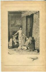 Antique Artistic Nude Woman Victorian Bed Pearl Necklace Remarque Etching Print