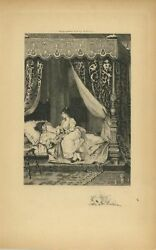 Antique Artistic Nude Woman Romance Canopy Four Poster Bed Rose Remarque Etching