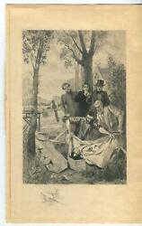 Antique Cemetery Coroner Coffin Grave Mourning Sorrow Death Burial Etching Print