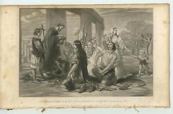 Antique Mezzotint Introduction Of Christianity Britain Ad 177 Distressed Print