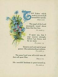Antique Flowers Pink Blue Forget Me Nots Bible Verses Lord Father God Art Print