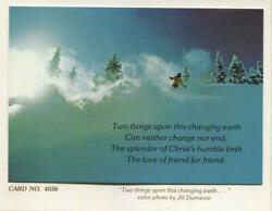 Vintage Christmas Skiing Green Blue Colors Love Of A Friend Jill Durrance Card