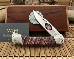 Buck 110 Wild Horse Custom Exotic Red Fossil Tooth Patriotic Hunter Knife 1/1