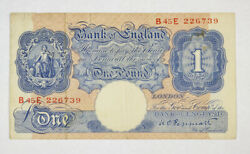 Bank Of England Wwii Ww2 One Pound Bank Note -