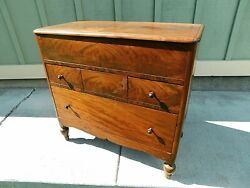 Antique Empire Flame Mahogany Dry Sink Lifttop Wash Basin 3 Drwr Cabinet Dresser