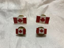 4 Tiny Matte Canadian Flag Red And White Maple Leaf Lapel Pins Tie Tacks Pinback