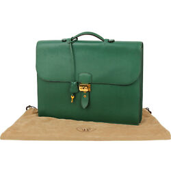 Hermes Briefcase Sac A Depeche 41 Ardenne Green Gold Hardware Leather Vintage