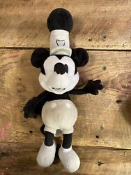 """Micky Mouse Steam Boat Willie Plush Toy Just Play Black And White Small 11"""""""