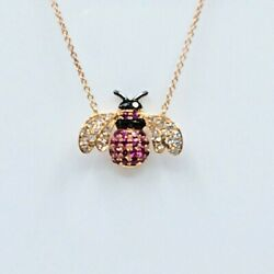 Alluring Necklace 18k Solid Rose Gold Bee Natural Diamonds Pink Sapphires