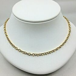 Mens Italian Chain 18k Yellow Gold Cable Design Faceted Big Links Long 23.74