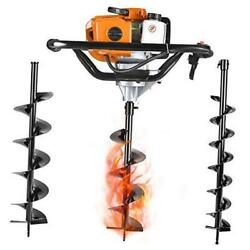 Gas Powered Post Hole Digger Earth Auger Drill 52cc 2 Stroke With 3 Auger