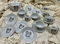 Vintage Childs Tea Set 1940-50 Made In Japan Rare Set - Boy And Girl 19 Pieces