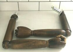 Antique Dark Wood Articulated Poseable Arms And Hands Artist Mannequin Display Z81
