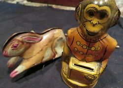 2 Vintage J. Chein And Co. Tin Toys Rabbit Bunny And Monkey Bank