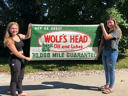 Nice Original Vintage Wolfand039s Head Oil And Lubes Sign Banner Advertising Old Gas