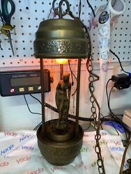 Vt Hanging Oil Rain Lamp With Goddess Figure 20 Excellent Working Conditio