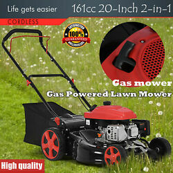 161cc 20-inch 2-in-1 High-wheeled Fwd Self-propelled Gas Powered Lawn Mower New