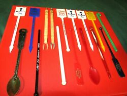 30 Advertising Swizzle Sticks-drink Stirrers-hotel Eight Balls Whistles More