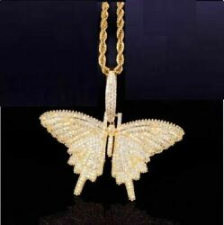 4.20ct Real Diamond Butterfly Charm Pendant 14k Yellow Gold For Christmas Gift
