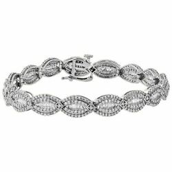 14k White Gold Round And Baguette Cut Bracelet 3ct Real Diamond For Christmas Gift