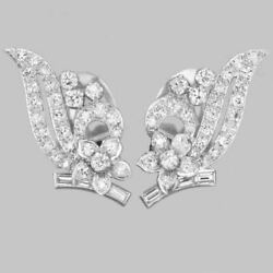 2ct Real Diamond Incredible Clip On Earrings 14k White Gold For Christmas Gift