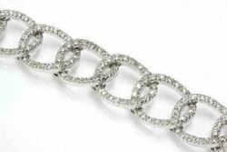 2ct Diamond In 14kt White Gold Pave 7 In Chain Bracelet For Women