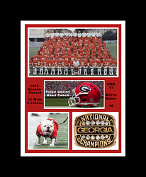 GEORGIA BULLDOGS 1980 NCAA FOOTBALL NATIONAL CHAMPS MATTED TEAM COLLAGE PHOTO