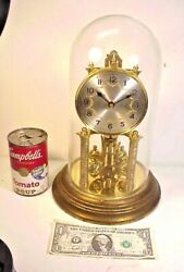 Vtg German 400 Day Anniversary Clock With Glass Dome For Repair