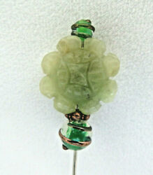 Vintage Hand Carved Chinese Green Jade And Blown Glass Beads Hat Pin