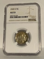 1920 S 5c Buffalo Nickel Five Cents Certified Ngc Au53 Us Mint Coin