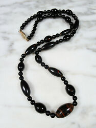 Vtg Hawaiian Graduated Black Coral Round Bead Gold Filled Necklace 25 29.1g