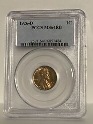 1926-d Lincoln Cent Ms64rb Pcgs
