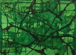 Green Stained Glass Window Abstract Watercolor Painting 18x24 Julia Garcia New