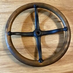Ford Model T A Steering Wheel Wood Black Painted Metal Nice Condition