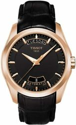 Brand New Tissot Menand039s Couturier Auto Black Dial Leather Watch T0354073605101