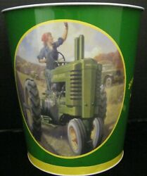 John Deere Tin Trash Can Small For Office Or Desk Man And Woman On Tractors