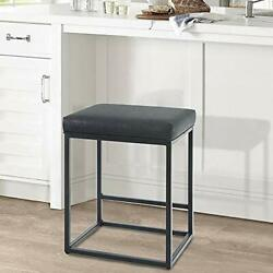 Bar Chair Counter Stools Height W/ Footrest Leather Backless Black Metal Frame