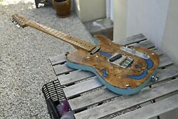 Telecaster Self Made With Twisted Tele Pickups Olive Wood Top And Spruce Body