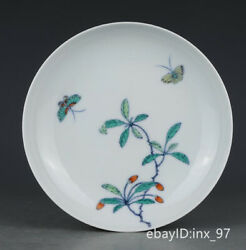 6.2 China Antique Porcelain Yongzheng Bucket Color Butterfly Love Pattern Plate