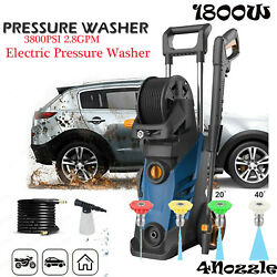 3800psi 2.8gpm Electric Pressure Washer 1800w Water Cleaner Sprayer 4nozzle New