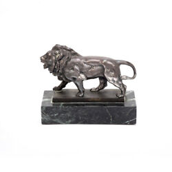 Beautiful Sterling Silver Lion Sculpture Figurine Mounted On Green Marble Base