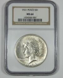 1921 Peace Dollar Certified Ngc Ms 64 Silver Dollar