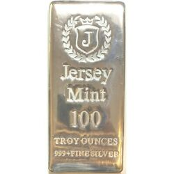 100 Oz 0.999 Silver Bullion Casted Bar - Jersey Mint - Free Shipping - In Stock