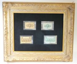 Framed First Issue Us Fractional Currency 5 10 25 And 50-cent Notes Crisp Unc