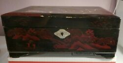 Japanese Black Wooden Lacquer Music Box Abalone Inlaid Jewelry Music Box Works